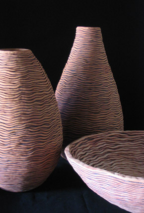 _shor and baccus_, 2004, earthenware ceramics, oxides, cluster 56cm(h)x60(l)cmx60(w), photographer -  Cathy Keys