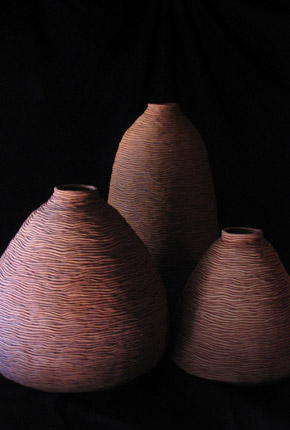 _votum vasum III, IV, V_, 2005, stoneware ceramics, oxides, pieces between 60-40cm(h)x45-20(w), photographer -  Cathy Keys