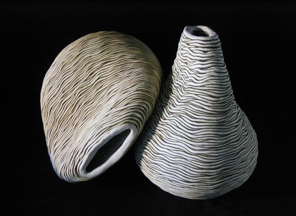 _portabilis_, 2004, earthenware ceramics, pieces between 30cm(h)x45(w), photographer -  Cathy Keys