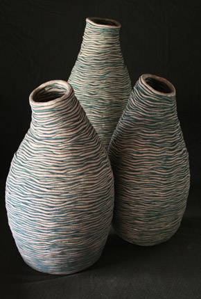 _ANZAC Square series_, 2007, stoneware ceramics, oxides, pieces between 59-38cm(h)x23-21(w), photographer -  Cathy Keys