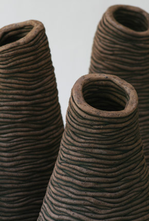 _bell series_, 2007, stoneware ceramics, oxides, detail of openings 30cm(h)x25(w), photographer -  Cathy Keys