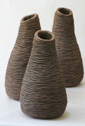 _bell series_, 2007, stoneware ceramics, oxides, pieces between 54-47cm(h)x25-23(w), photographer -  Cathy Keys