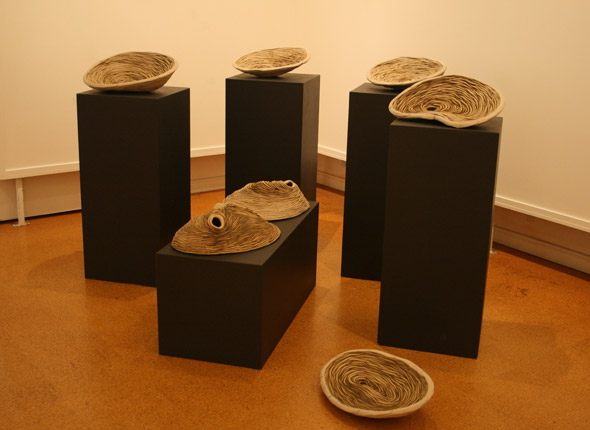Exhibition of _tidemark_, 2008, Cooloola Shire Public Gallery, _tidal pool series_, stoneware ceramics, photographer - Cathy Keys