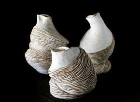 _gastropod series_, 2008, stoneware ceramics, oxides, pieces between 35-25cm(h)x20-15(w), photographer -  Cathy Keys