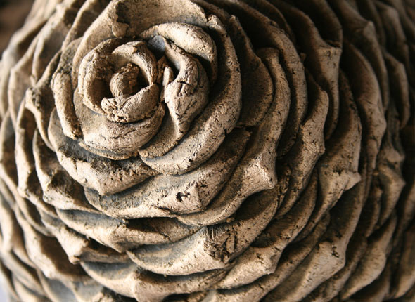 Detail of _cone_, 2012, earthenware ceramics, 25cm(h)x20(w), photographer - Cathy Keys