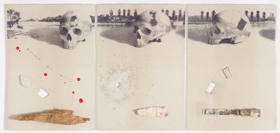 trepanning series – panel 1, panel 2, panel 3, 2012, mixed media, print release, ink, wood, flint, chisel, fibre cement sheet, 95cm(h)x125(w), photographer - Gary Mitchell